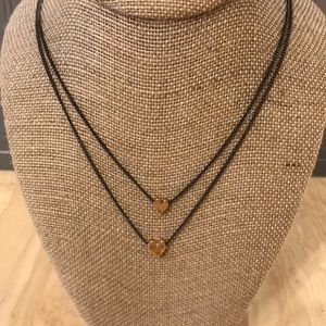 BaubleBar double strand heart pendant necklace